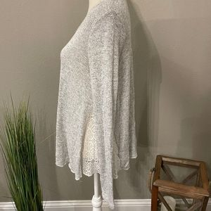 Mossimo Gray Long Sleeve Lace Scoop Neck Blouse